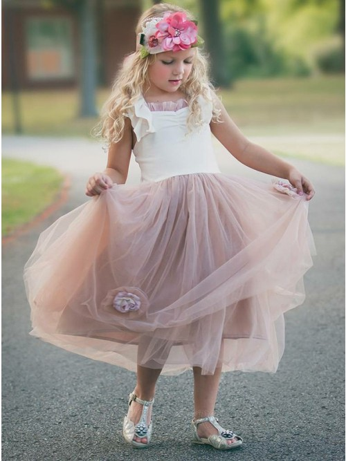 A-Line Square Tea-Length Blush Flower Girl Dress with Flowers