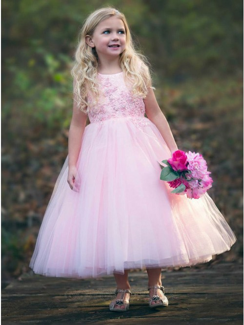 A-Line Round Neck Long Pink Appliques Beading Flower Girl Dress
