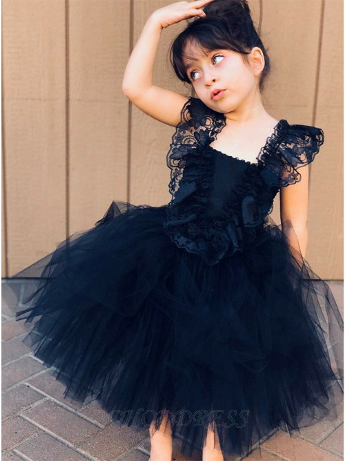 Ball Gown Square Knee-Length Flower Girl Dress with Ruffles Lace