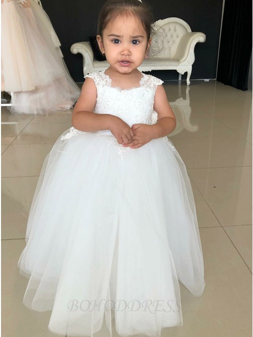 Ball Gown Square Floor-Length White Flower Girl Dress with Appliques Bowknot