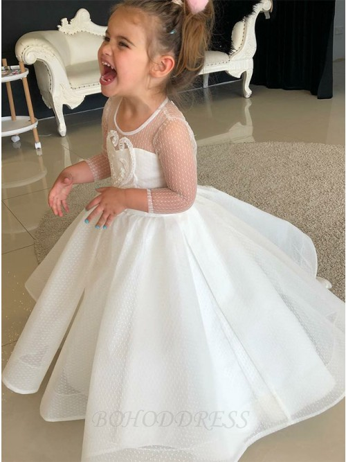Ball Gown Scoop Long Sleeves Flower Girl Dress with Appliques