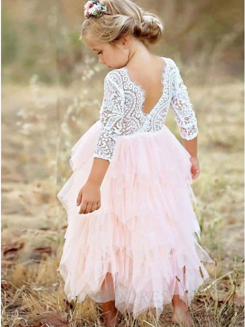 A-Line V-Neck Long Sleeves Pink Tulle Folwer Girl Dress with Lace Tiered