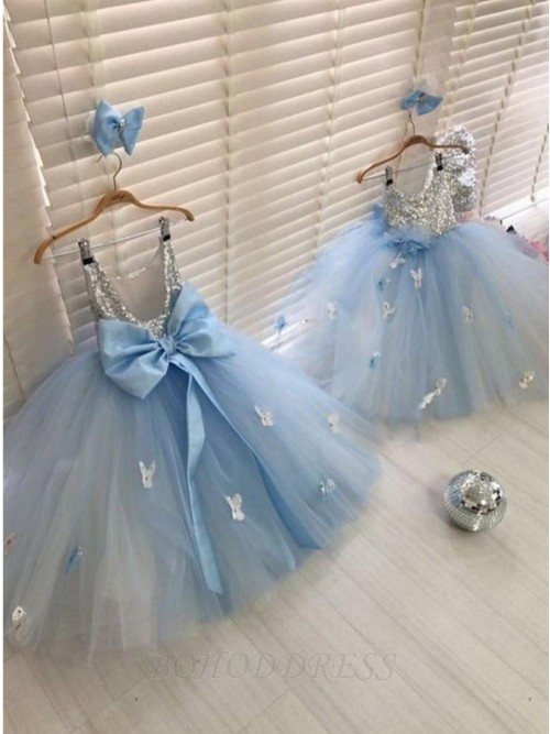Ball Gown Round Neckline Long Tulle Flower Girl Dress with Bowknot and Sequins