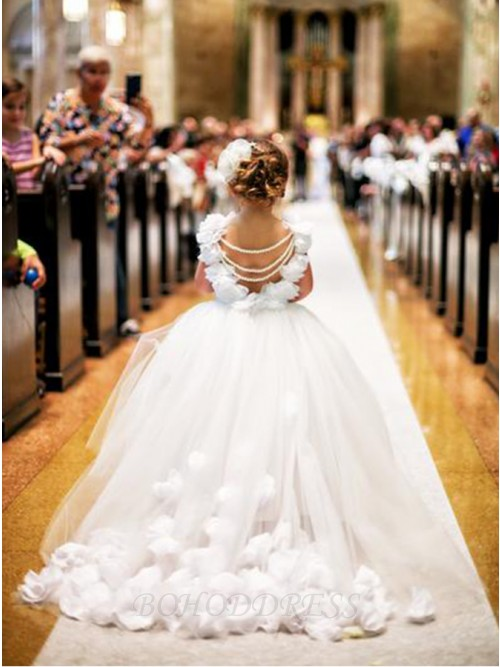 Ball Gown White Ivory Tulle Flower Girl Dress with Hand-made Petals