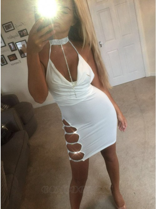 Sheath Halter Short White Backless Cocktail Dress with Sequins