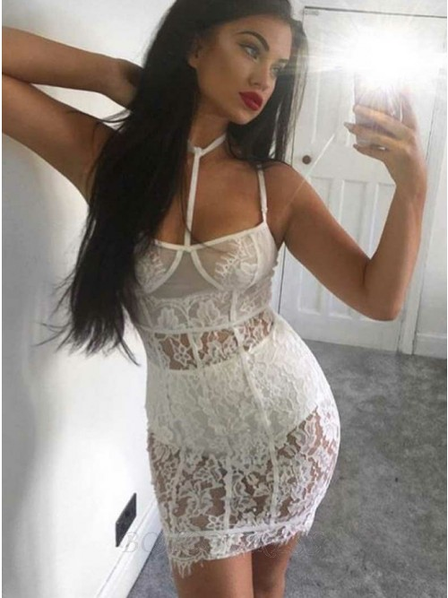 Sheath Halter Backless Lace Short White Cocktail Dress