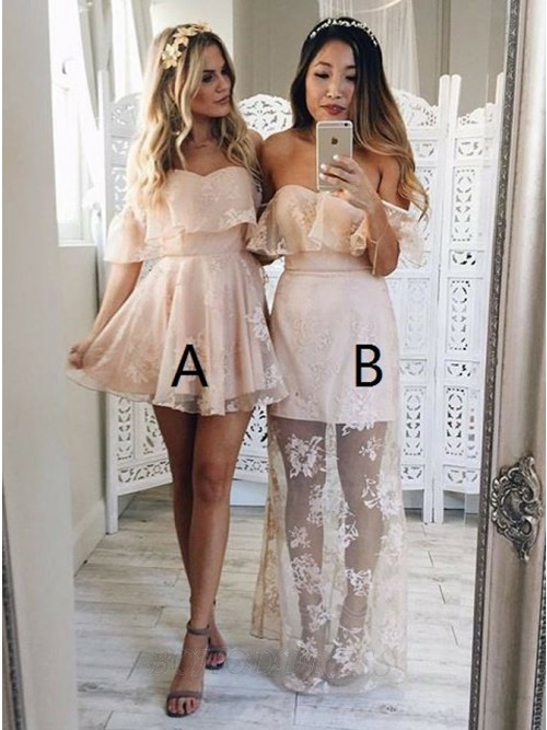 9c26e30e2 A-Line Off-the-Shoulder Sleeveless Short Pearl Pink Lace Prom Dress with