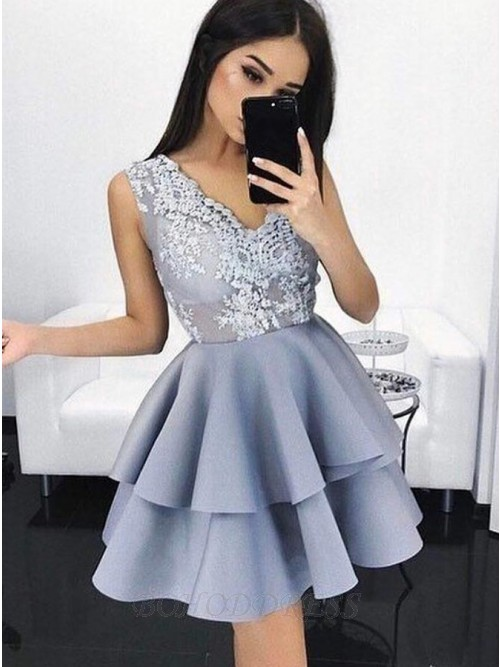 A-Line V-Neck Short Light Blue Tiered Homecoming Dress with Appliques