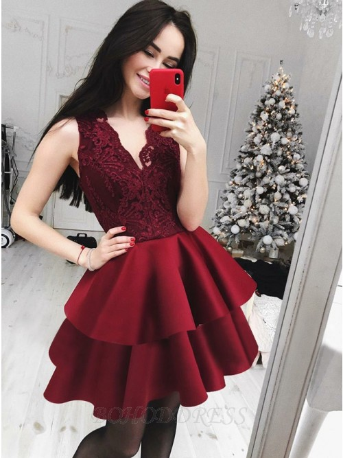 A-Line V-Neck Tiered Burgundy Homecoming Dress with Lace