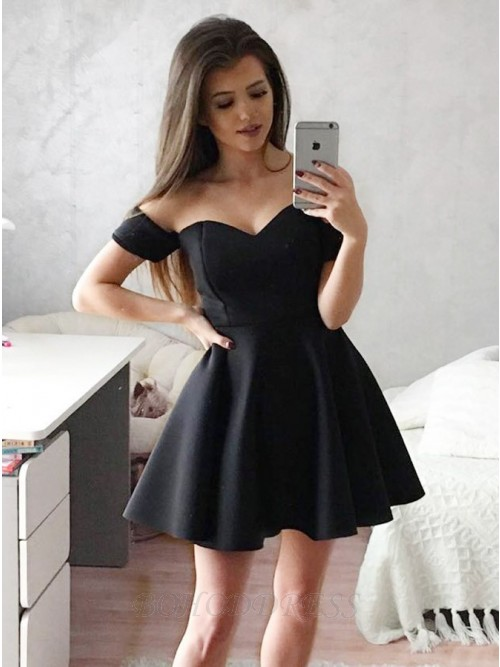 dc1461d7c5e5 Simple A-Line Off-the-Shoulder Short Satin Homecoming Dress $79.99 ...