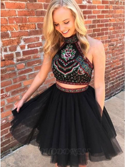 Two Piece Halter Backless Above-Knee Black Prom Homecoming Dress with Embroidery