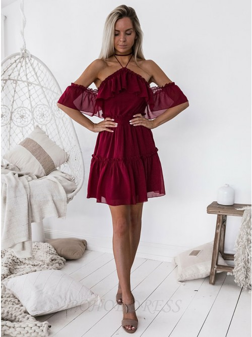 A-Line Halter Backless Above-Knee Burgundy Chiffon Homecoming Dress with Ruffles