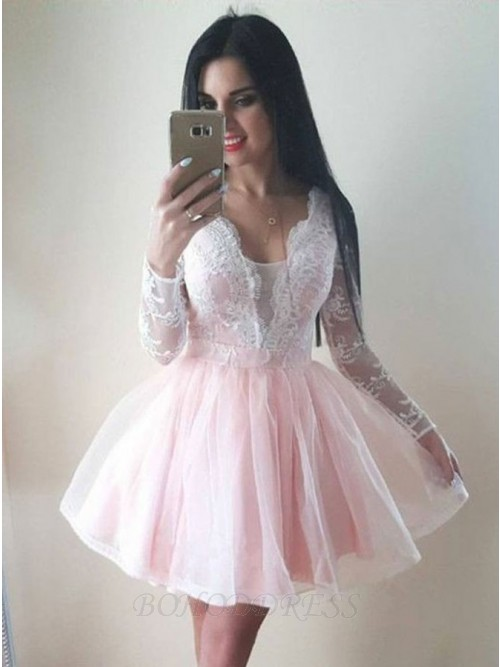 001adb1d02ae A-Line V-Neck Long Sleeves Short Pearl Pink Homecoming Dress with Appliques