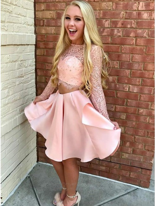 Two Piece Jewel Long Sleeves Short Pink Homecoming Dress with Lace
