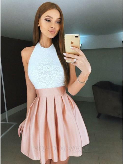 A-Line Halter Backless Short Pink Pleated Homecoming Dress with Lace Bodice
