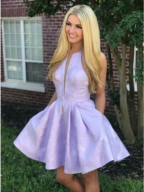 A-Line Crew Above-Knee Lilac Satin Printed Homecoming Dress with Pockets