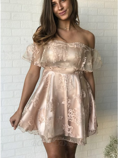 A-Line Off-the-Shoulder Short Light Champagne Organza Homecoming Dress with Ruffles