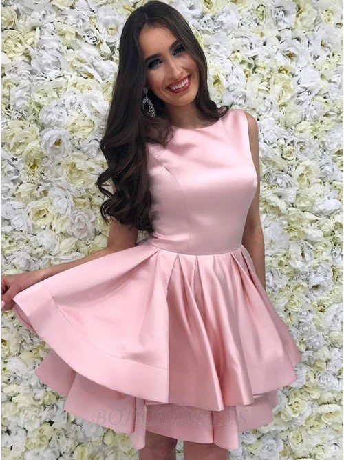 A-Line Crew Above-Knee Pink Tiered Homecoming Dress with Pleats
