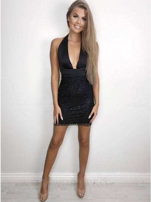 Sheath Halter Backless Short Black Homecoming Cocktail Dress with Sequins