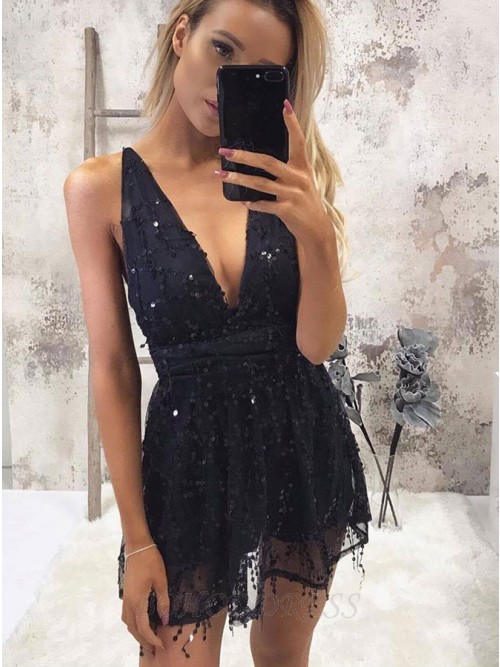 A-Line Deep V-Neck Short Black Homecoming Cocktail Dress with Sequins