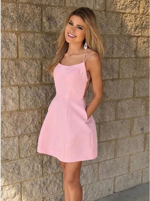 Sheath Spaghetti Straps Pink Short Homecoming Dress with Pockets
