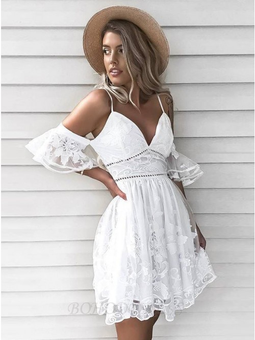 Flare A-line Cold Shoulder White Lace Homecoming Dress Short Party Dress