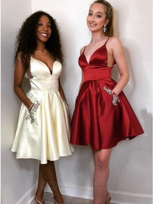 A-line Spaghetti Straps Short Satin Homecoming Dress with Pockets