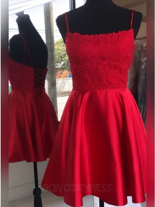 Elegant Square Red Homecoming Dress with Appliques Criss-Cross Back