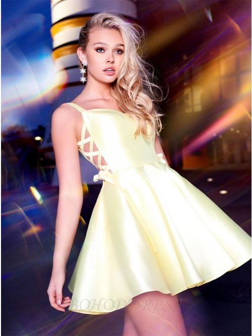 Elegant V-neck Above Knee Sleeveless Homecoming Party Dress with Bow-knot