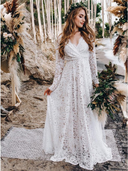 A-Line White Lace Floor-Length Wedding Dress with Long Sleeves