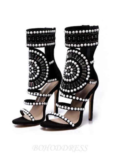 Stiletto Heel Campagus Sandals with Beading