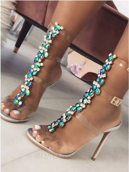 Stiletto Heel Sandals with Colorful  Rhinestones