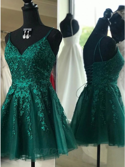Sweet V-neck Dark Green Lace- up Homecoming Party Dress with Appliques