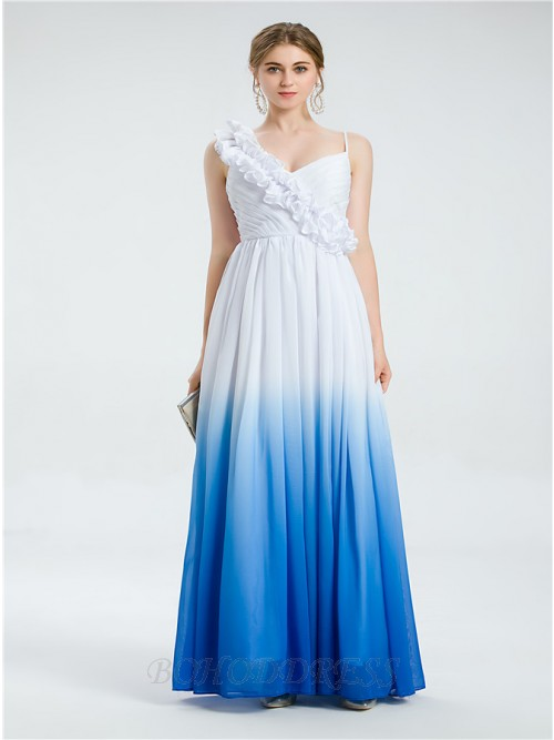 Modest Ombre Spaghetti Straps Ruched Floor-length Beach Wedding Dress