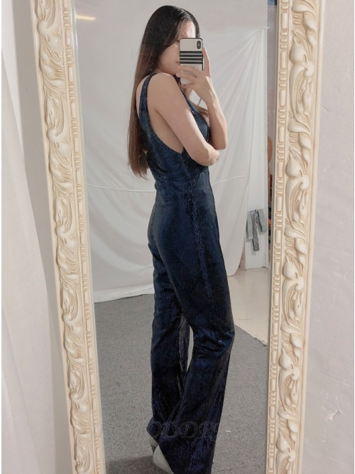 Sheath V-Neck Long Sequined Navy Blue Prom Jumpsuit with Backless
