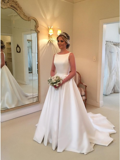 A-Line Bateau Backless Sweep Train White Satin Wedding Dress with Sash