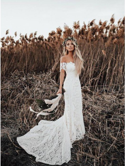 Mermaid Round Neck Short Sleeves Lace Beach Wedding Dress