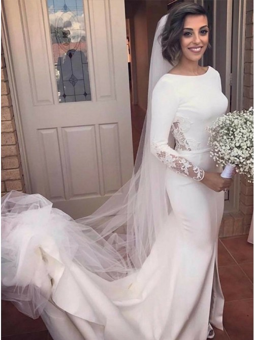 ad267f7771 Mermaid Round Neck Court Train White Wedding Dress with Long Sleeves  Appliques Split