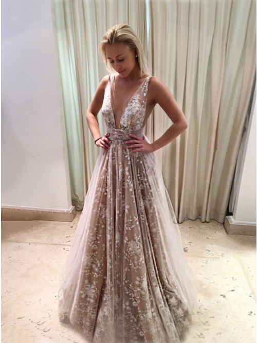 A-Line Deep V-Neck Long Backless Champagne Tulle Prom Dress with ...