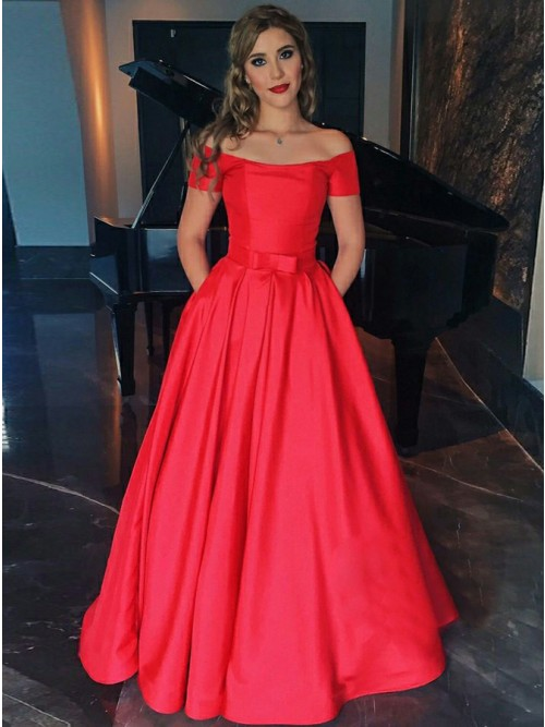 A Line Off The Shoulder Short Sleeves Red Satin Prom Dress
