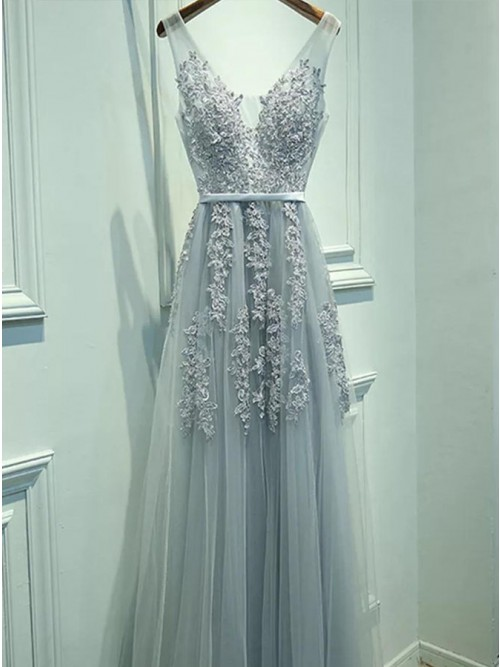 A-Line V-Neck Backless Light Blue Tulle Prom Dress With Sashes Appliques
