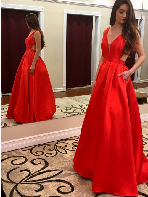 Red A-Line Prom Dresses
