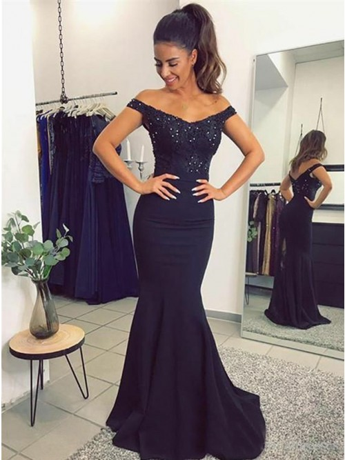 Mermaid Off-the-Shoulder Sweep Train Navy Blue Prom Dress with ...