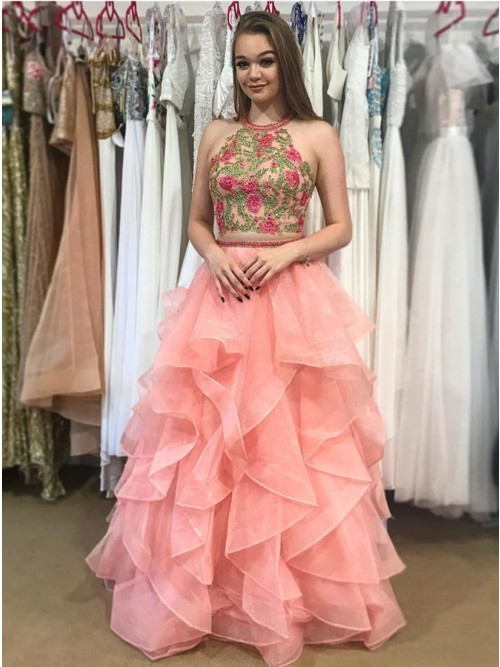 Two Piece Round Neck Tiered Coral Open Back Prom Dress with ...