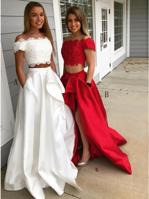 Two Piece Off-the-Shoulder Short Sleeves White Lace Bodice Prom Dress with Pockets