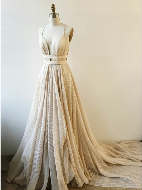 A-Line V-Neck Court Train Light Champagne Lace Prom Dress $152.99 ...
