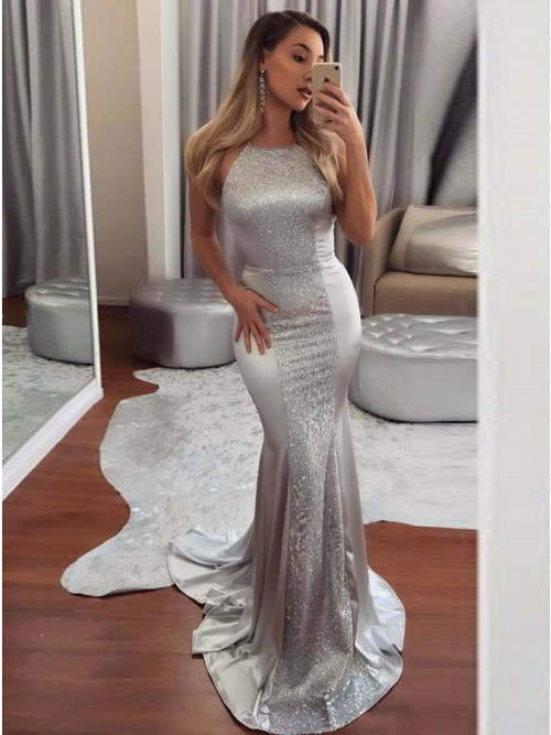 Mermaid Crew Backless Sweep Train Silver Prom Dress With