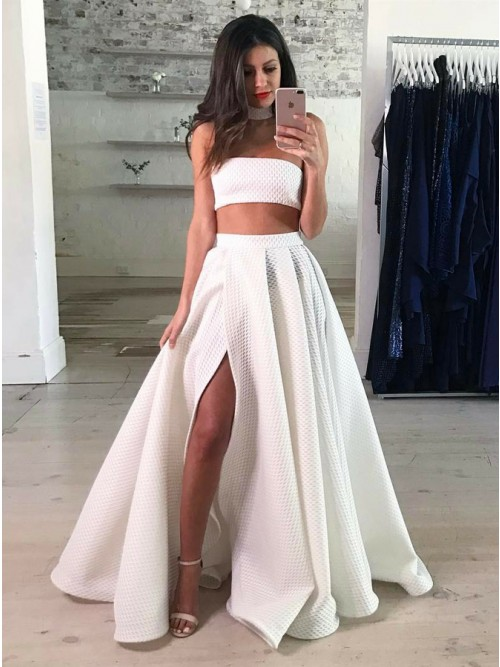 Two Piece Strapless Floor-Length White Lace Prom Dress with Split ...