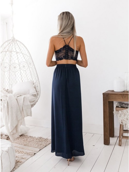 70f8d063e9ae Two Piece Spaghetti Straps Floor-Length Navy Blue Prom Dress with Lace Split