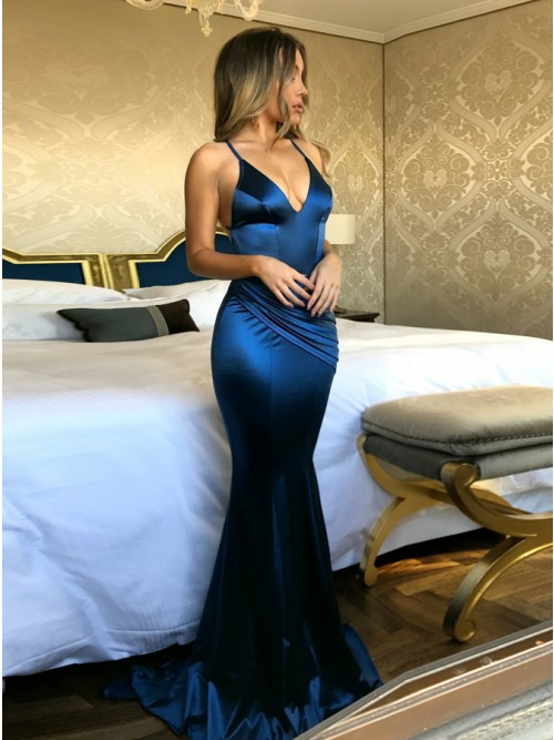 Mermaid Spaghetti Straps Sweep Train Royal Blue Prom Dress